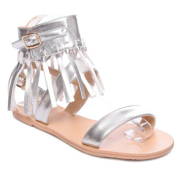 Fashion Solid Color and Fringe Design Women's Sandals - SILVER 36