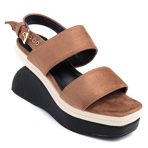 Casual Strange Heel and Flock Design Women's Sandals - BROWN 36