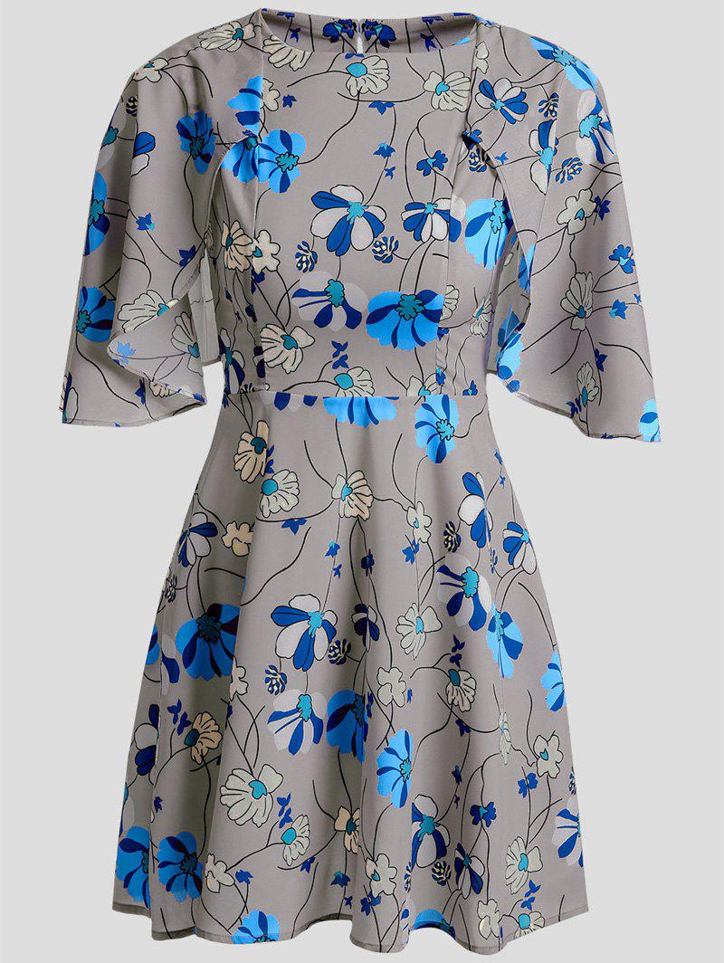 Cute Women's Jewel Neck Short Sleeves Floral Print Cape Dress - GRAY M