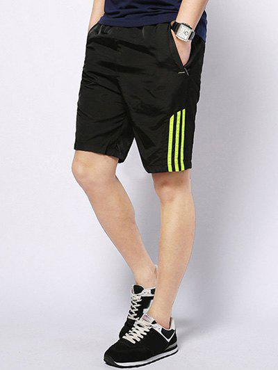 Men's Casual Striped Lace Up Sports Shorts - NEON GREEN 2XL