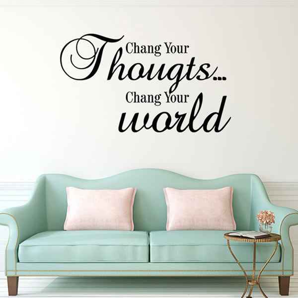 Stylish Change Your World Letters Pattern Wall Sticker For Livingroom Bedroom Decoration - BLACK
