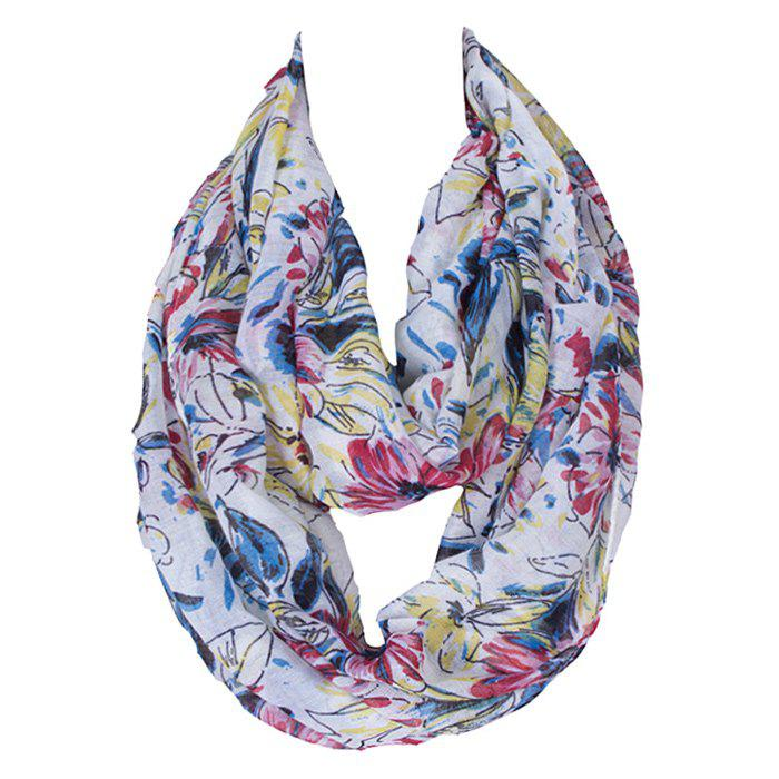 Chic Colored Handpainted Flowers Pattern Women's Voile Bib Scarf - WHITE