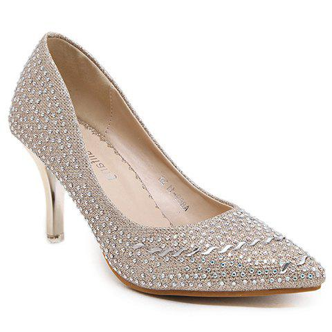 Stylish Metallic Color and Rhinestone Design Women's Pumps