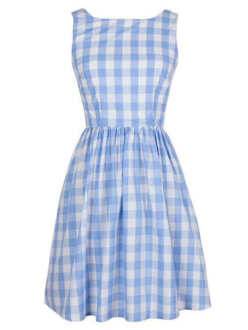 Vintage Plaid Jewel Neck Sleeveless Dress For Women - LIGHT BLUE S