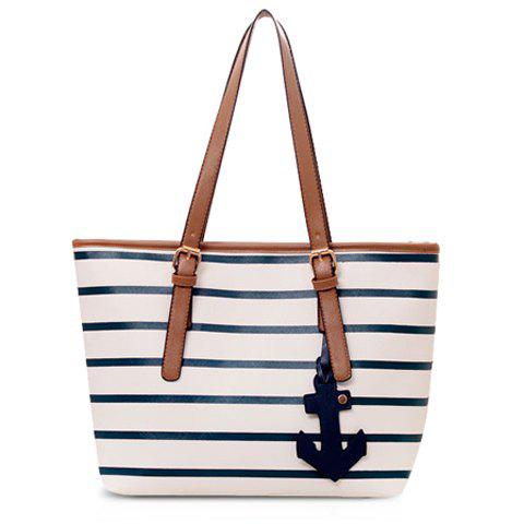 Casual Stripe and Pendant Design Shoulder Bag For Women - WHITE