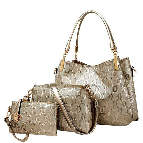 Elegant Solid Color and Embossing Design Women's Tote Bag - CHAMPAGNE GOLD