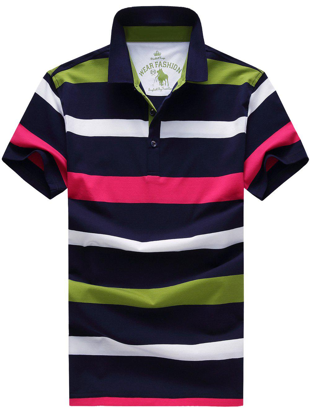 Turn-Down Collar Plus Size Color Block Striped Short Sleeve Men's Polo T-Shirt - GREEN XL