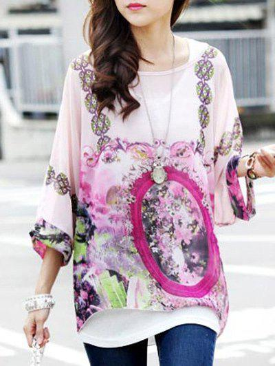 Sweet Flower Print Round Collar Batwing Sleeve Women's Tee - VIOLET ONE SIZE(FIT SIZE XS TO M)