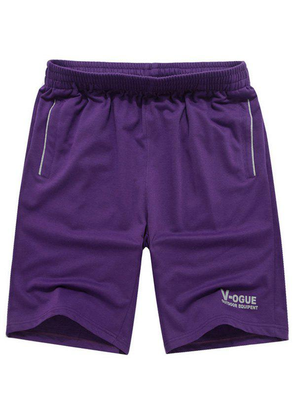 Men's Casual Solid Color Letter Printed Lace Up Sports Shorts - PURPLE 3XL