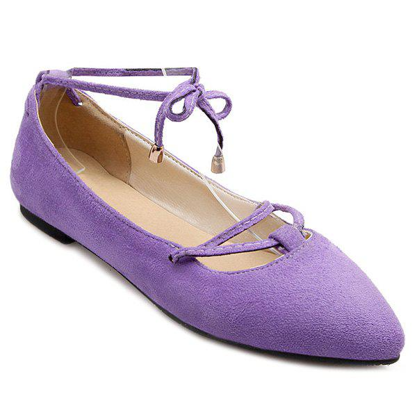Graceful Lace-Up and Pointed Toe Design Women's Flat Shoes - 38 LIGHT PURPLE