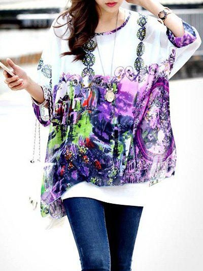 Fashionable Printed Round Neck Batwing Sleeve Women's Tee - VIOLET ONE SIZE(FIT SIZE XS TO M)