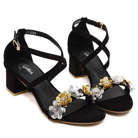 Trendy Floral and Cross-Strap Design Women's Sandals - BLACK 35