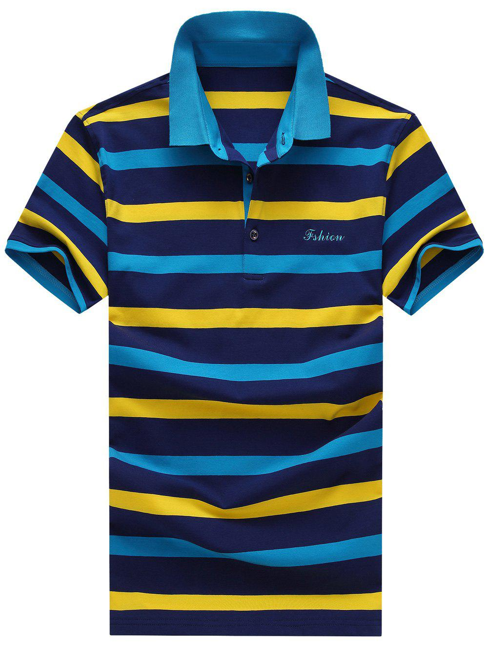 Men's Turn-Down Collar Plus Size Color Block Striped Print Short Sleeve Polo T-Shirt - BLUE M