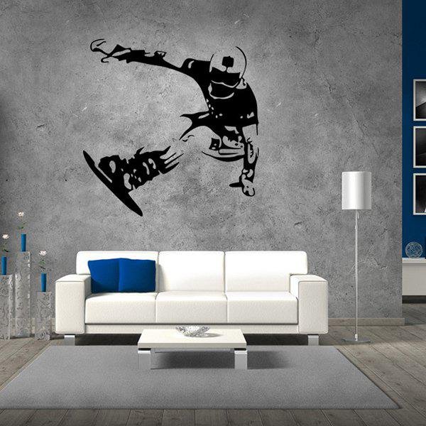 Stylish Skiing Boy Pattern Wall Sticker For Livingroom Bedroom Decoration - BLACK