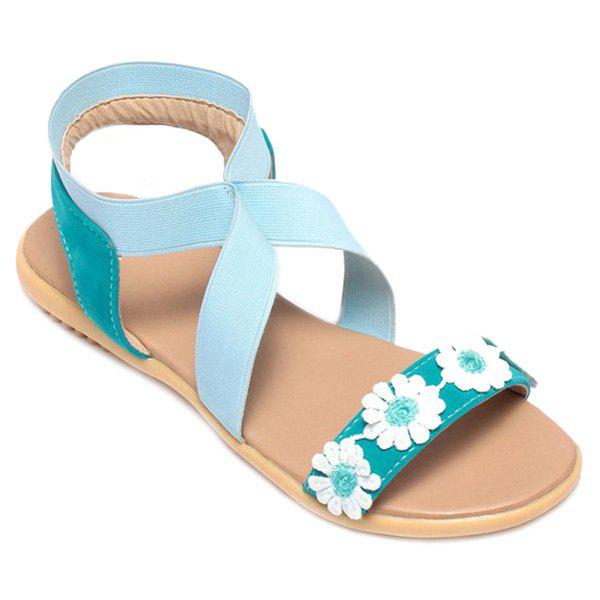 Sweet Color Block and Flower Design Women's Sandals - BLUE 38