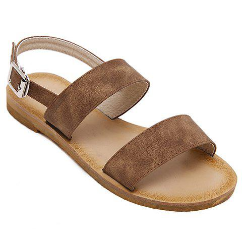 Simple PU Leather and Flat Heel Design Women's Sandals - CAMEL 39