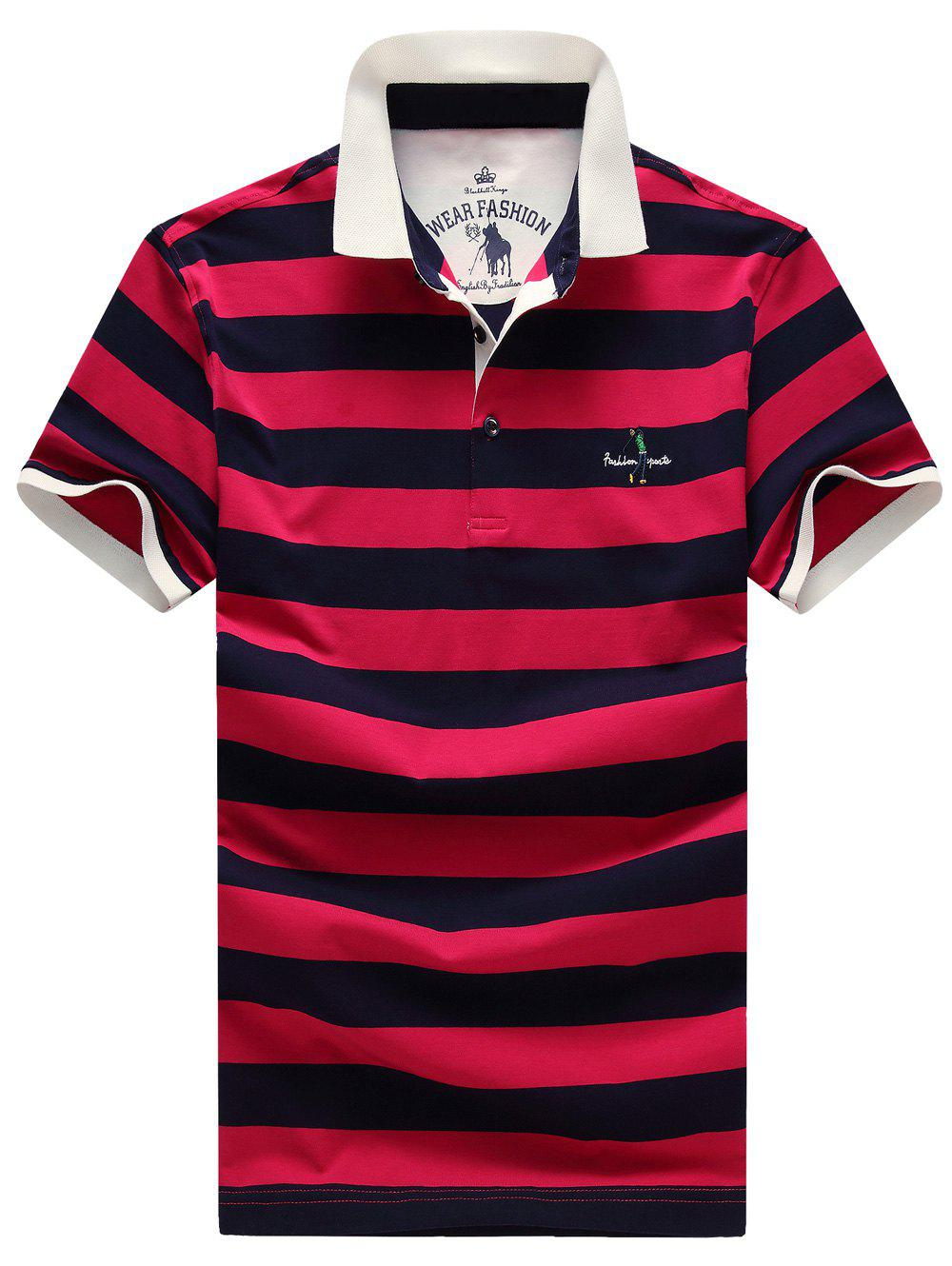 Casual Men's Plus Size Turn-Down Collar Color Block Striped Short Sleeve Polo T-Shirt - ROSE XL