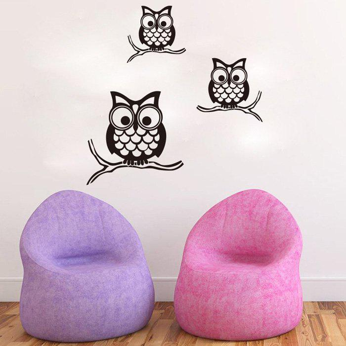 Stylish Night Owl Pattern Wall Sticker For Livingroom Bedroom Decoration - BLACK
