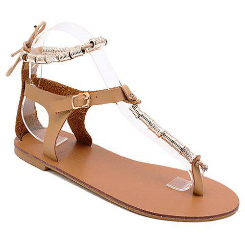 Leisure Metal and T-Strap Design Women's Sandals - BROWN 40