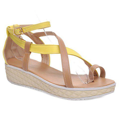 Sweet Color Block and Toe Ring Design Women's Sandals - YELLOW 37