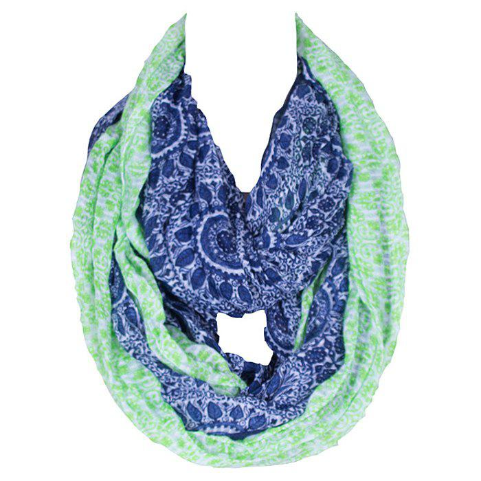 Chic Ethnic Pattern Mint Green Match Deep Blue Women's Voile Bib Scarf - DEEP BLUE