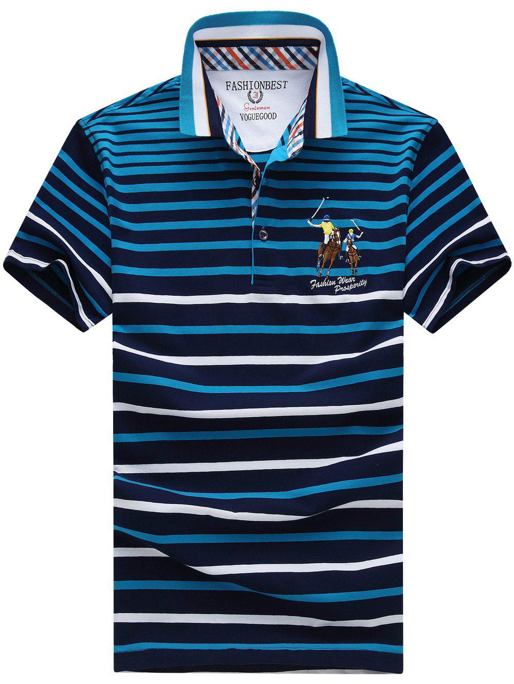 Men's Plus Size Turn-Down Collar Gradient Color Striped Short Sleeve Polo T-Shirt - BLUE XL