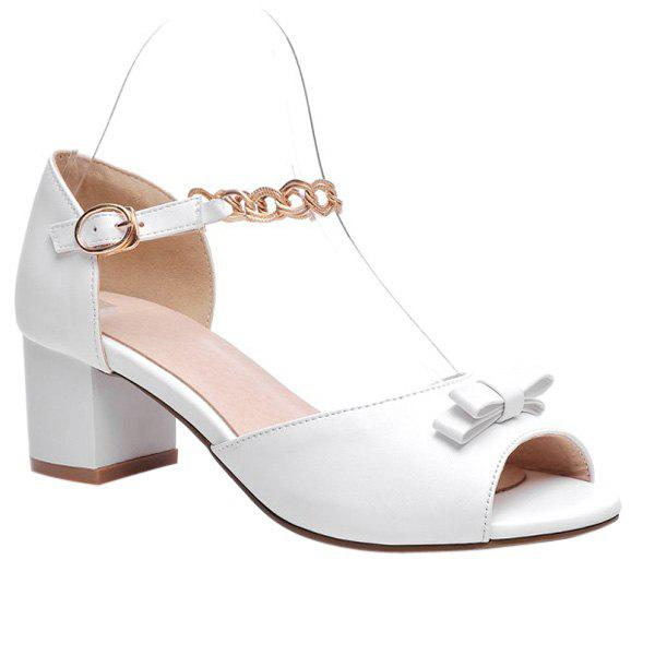Sweet Bowknot and Chunky Heel Design Women's Sandals - 38 WHITE