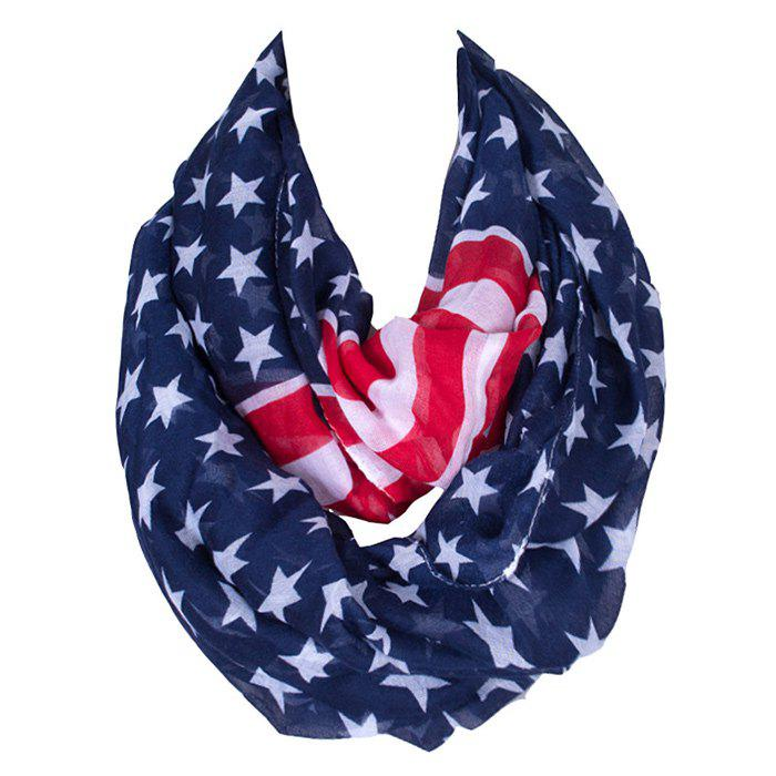 Chic Star and Stripe Pattern Women's Voile Bib Scarf - DEEP BLUE