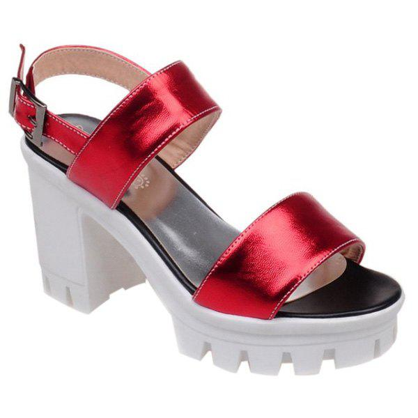 Fashion Solid Color and Chunky Heel Design Women's Sandals - RED 36