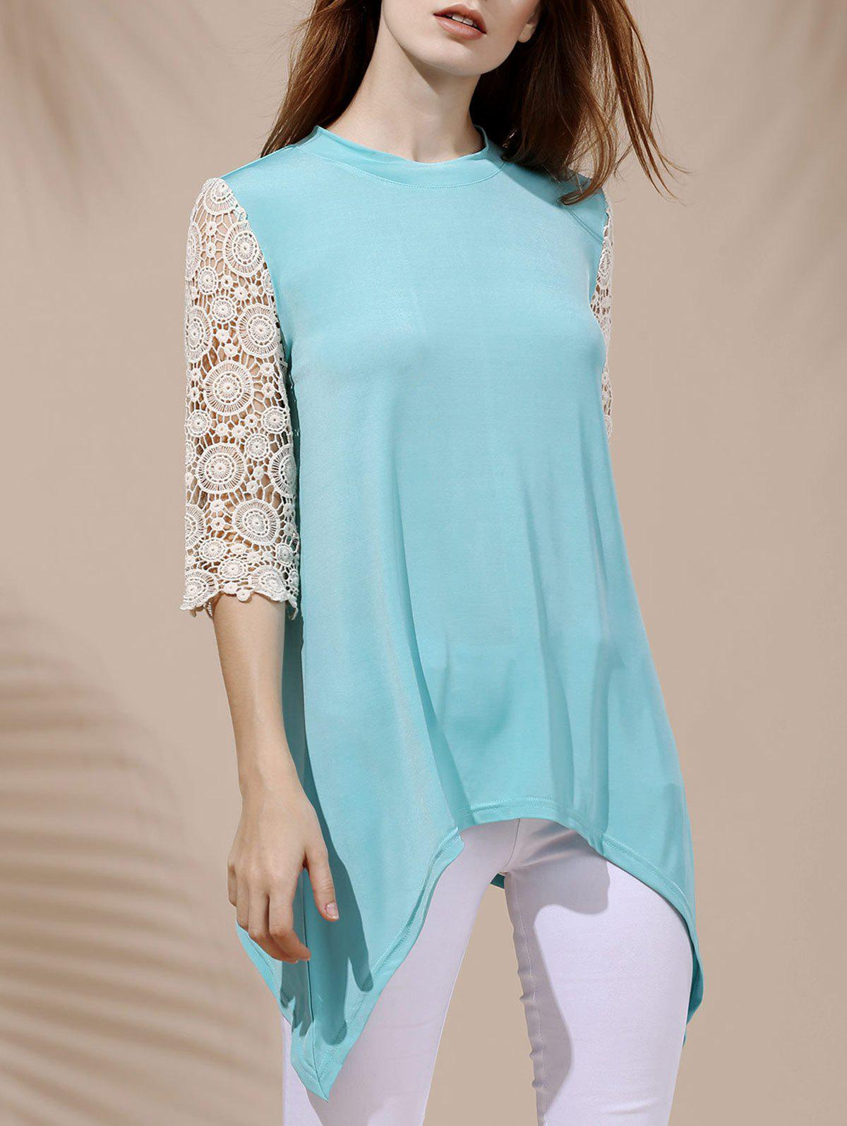 Trendy Round Collar Asymmetrical Lace Spliced Women's T-Shirt - LIGHT BLUE L