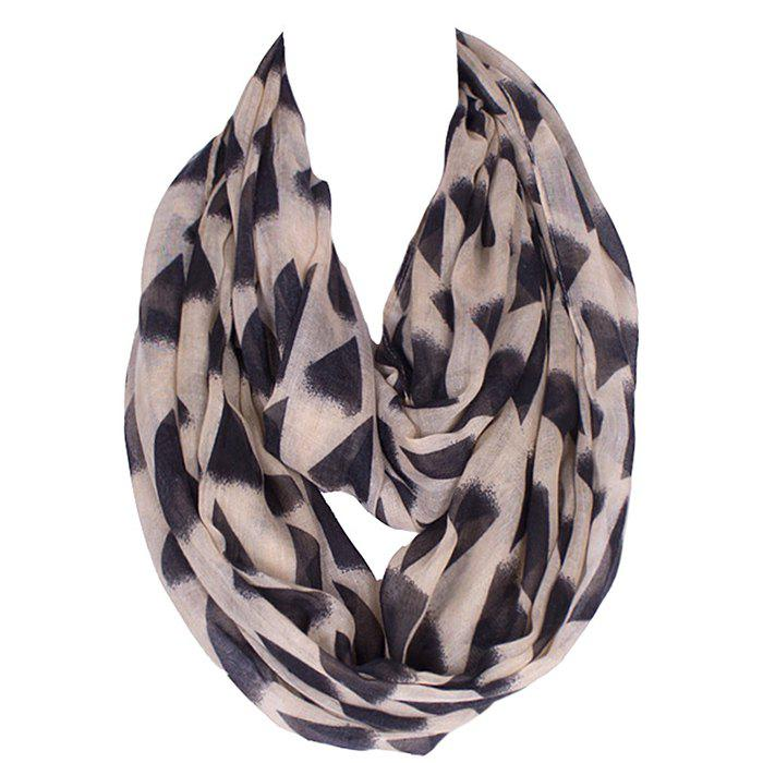 Chic Black Irregular Triangle Pattern Women's Voile Bib Scarf - LIGHT KHAKI
