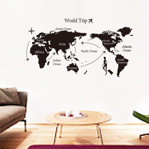 Stylish Travel World Map Pattern Wall Sticker For Livingroom Bedroom Decoration - BLACK
