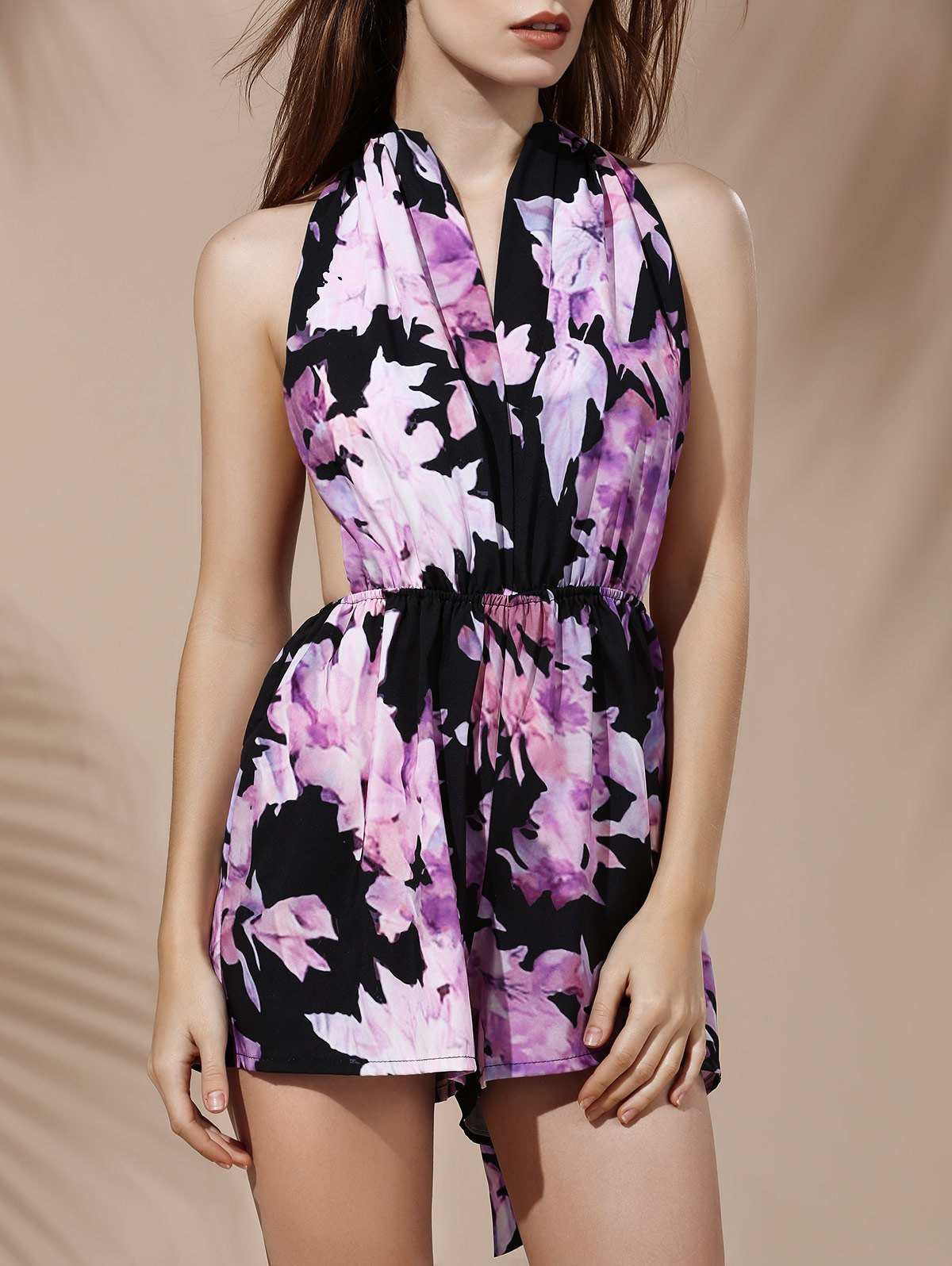 Fashionable Plunging Neck Sleeveless Floral Print Backless Women's Romper - BLACK S