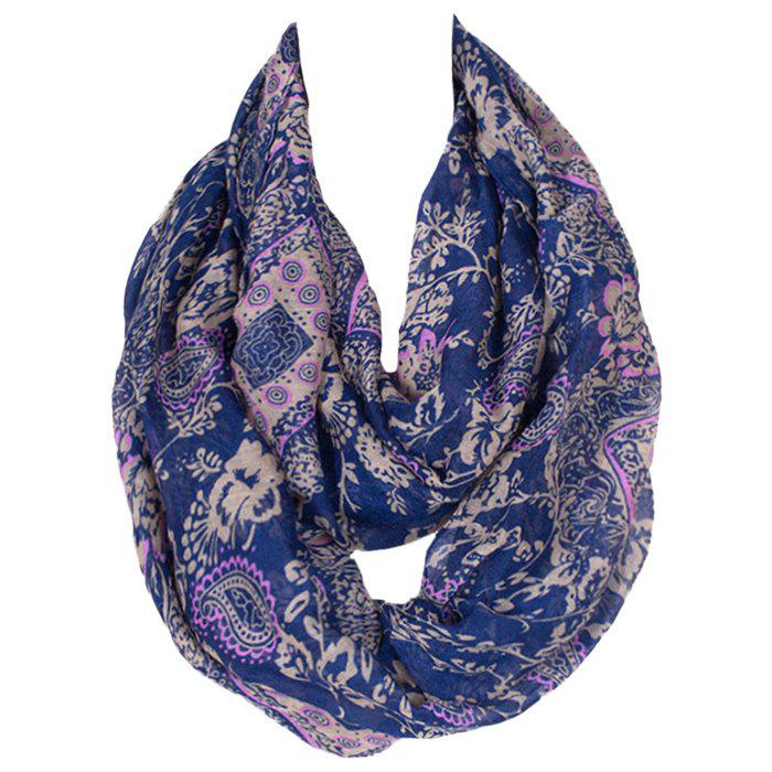 Chic Flower and Paisley Pattern Women's Deep Blue Voile Bib Scarf - DEEP BLUE