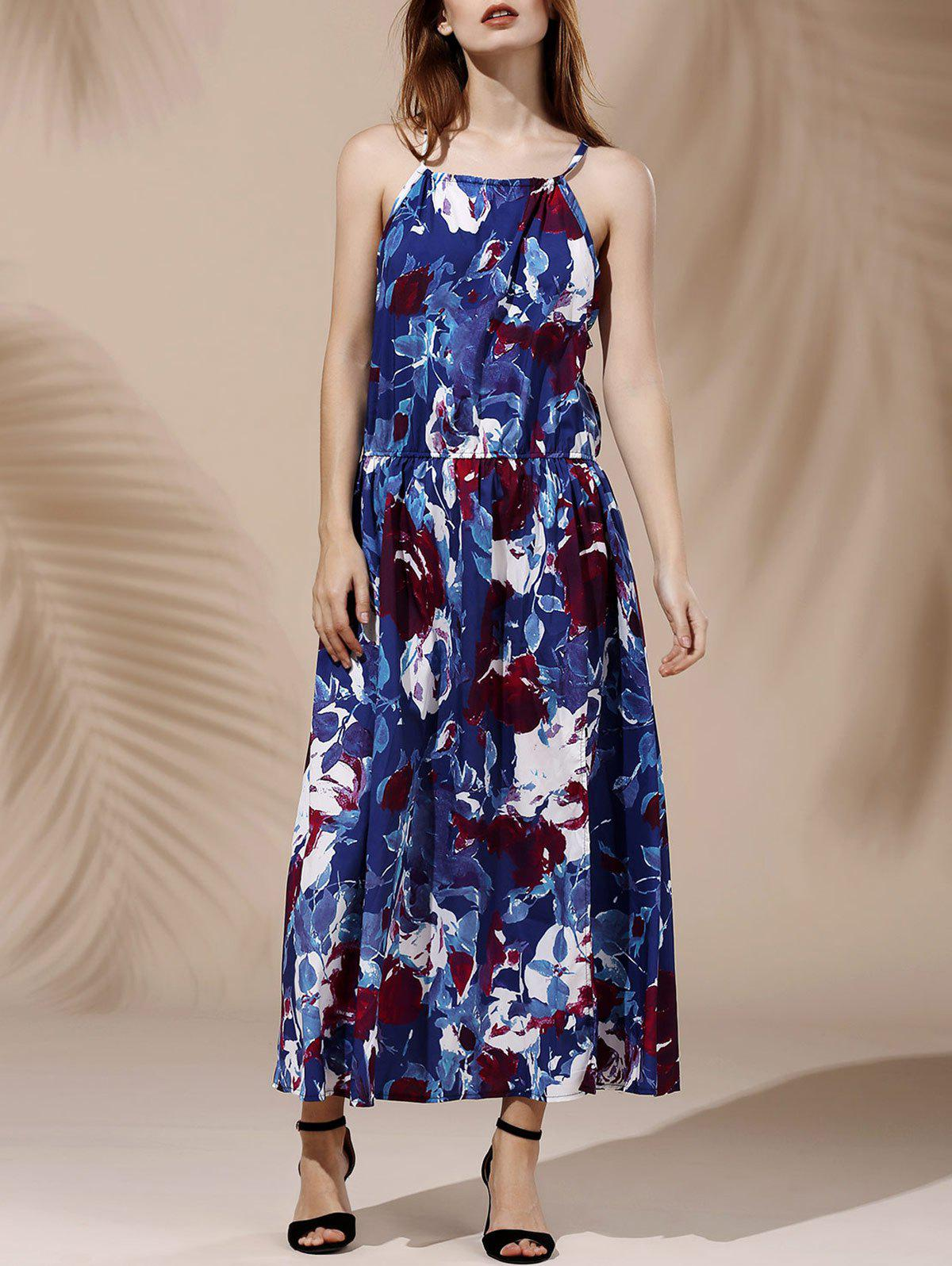 Charming Halterneck Sleeveless High-Slit Floral Print Women's Dress - PURPLISH BLUE M