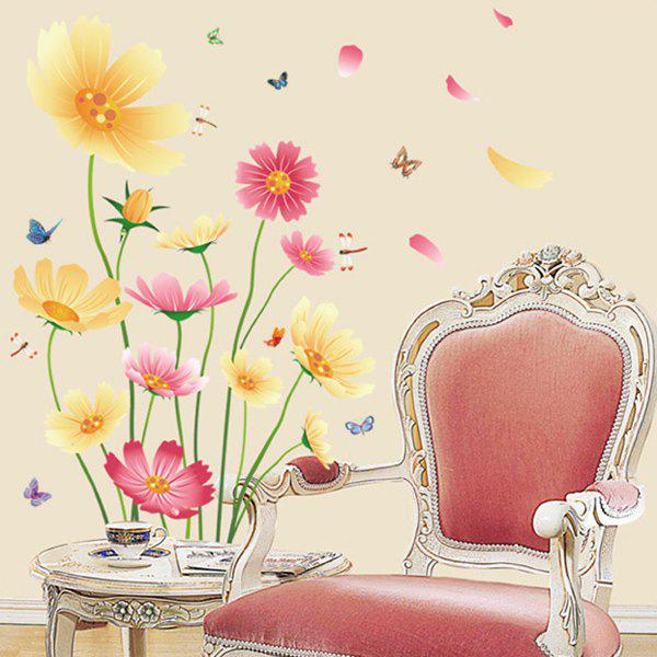 Hot Sale Rural Style Colorful Chrysanthemum Removeable Wall Stickers - COLORMIX