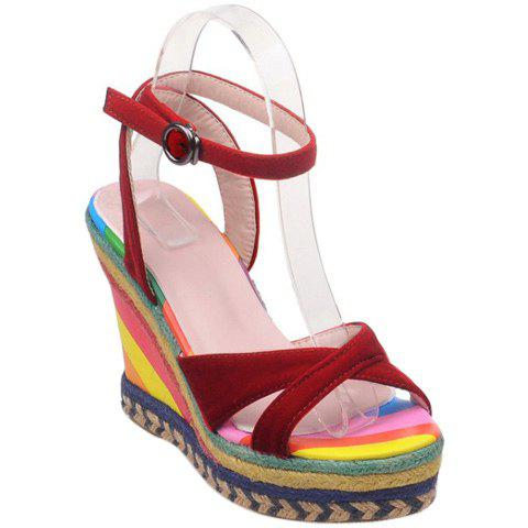 Fashion Suede and Color Block Design Women's Sandals - RED 34