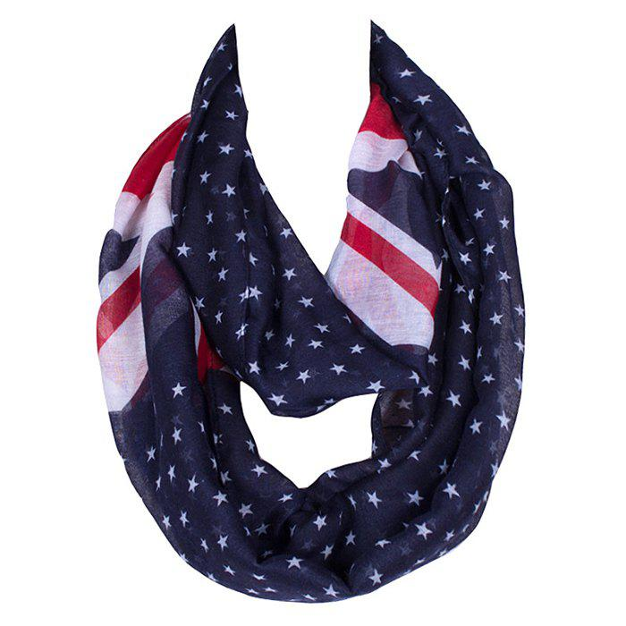 Chic Union Flag and Five-Pointed Star Pattern Women's Voile Bib Scarf - CADETBLUE