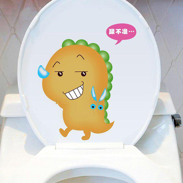 Stylish Cartoon Dinosaur Pattern Toilet Sticker For Bathroom Restroom Decoration - COLORMIX