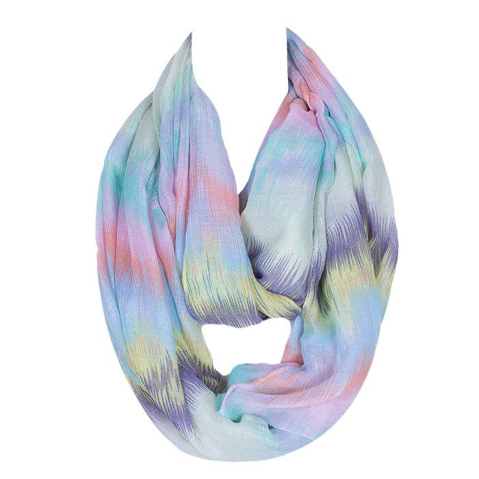 Chic Scrawl Pattern Light Color Women's Voile Bib Scarf - LIGHT BLUE