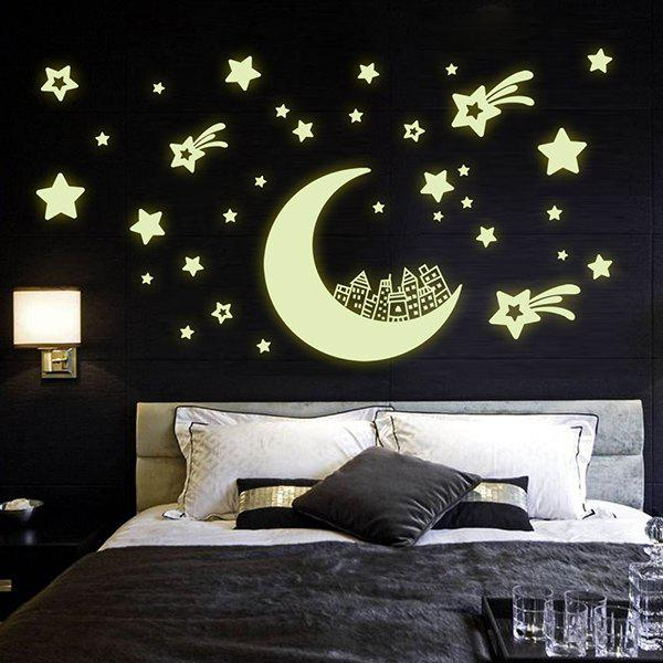 Stylish Luminous Moon and Star Pattern Wall Sticker For Bedroom Decoration - FLUORESCENT YELLOW