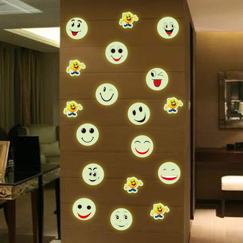 Stylish Luminous Cartoon Smiling Face Pattern Wall Sticker For Bedroom Decoration - COLORMIX