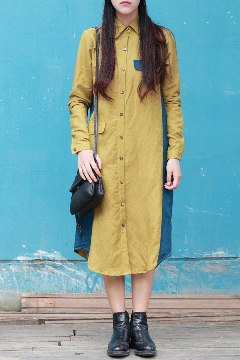 Shirt Collar Color Block Midi Dress - BLUE/YELLOW L