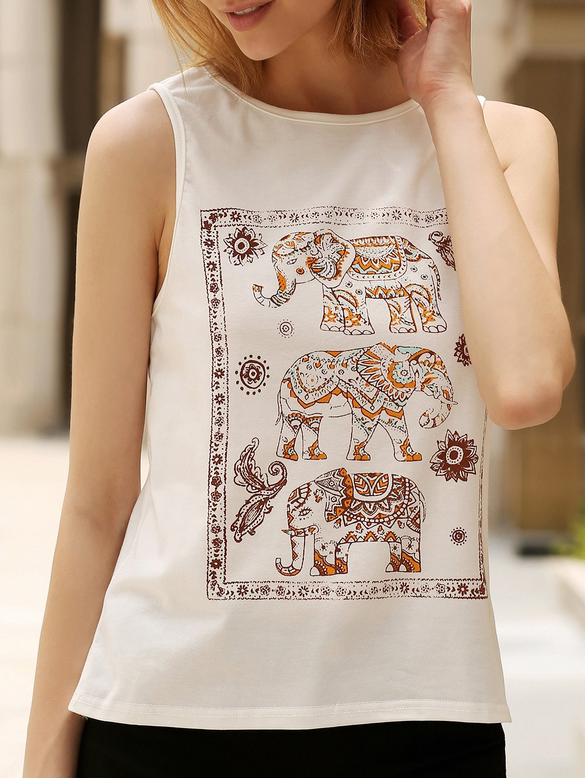 Casual Women's Scoop Neck Ethnic Print Tank Top - WHITE S