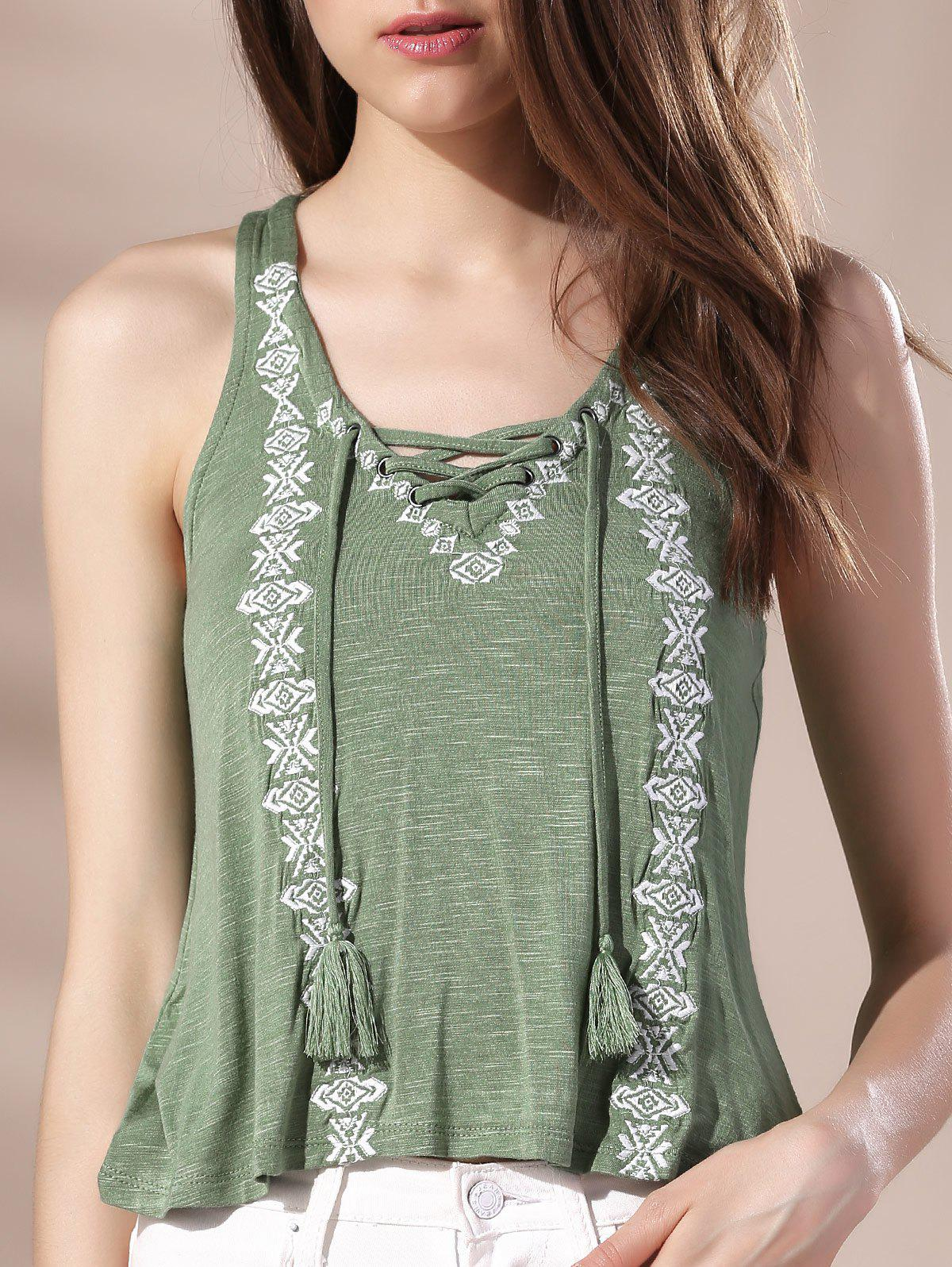 Chic V Neck Racerback Lace-Up Embroidered Women's Tank Top