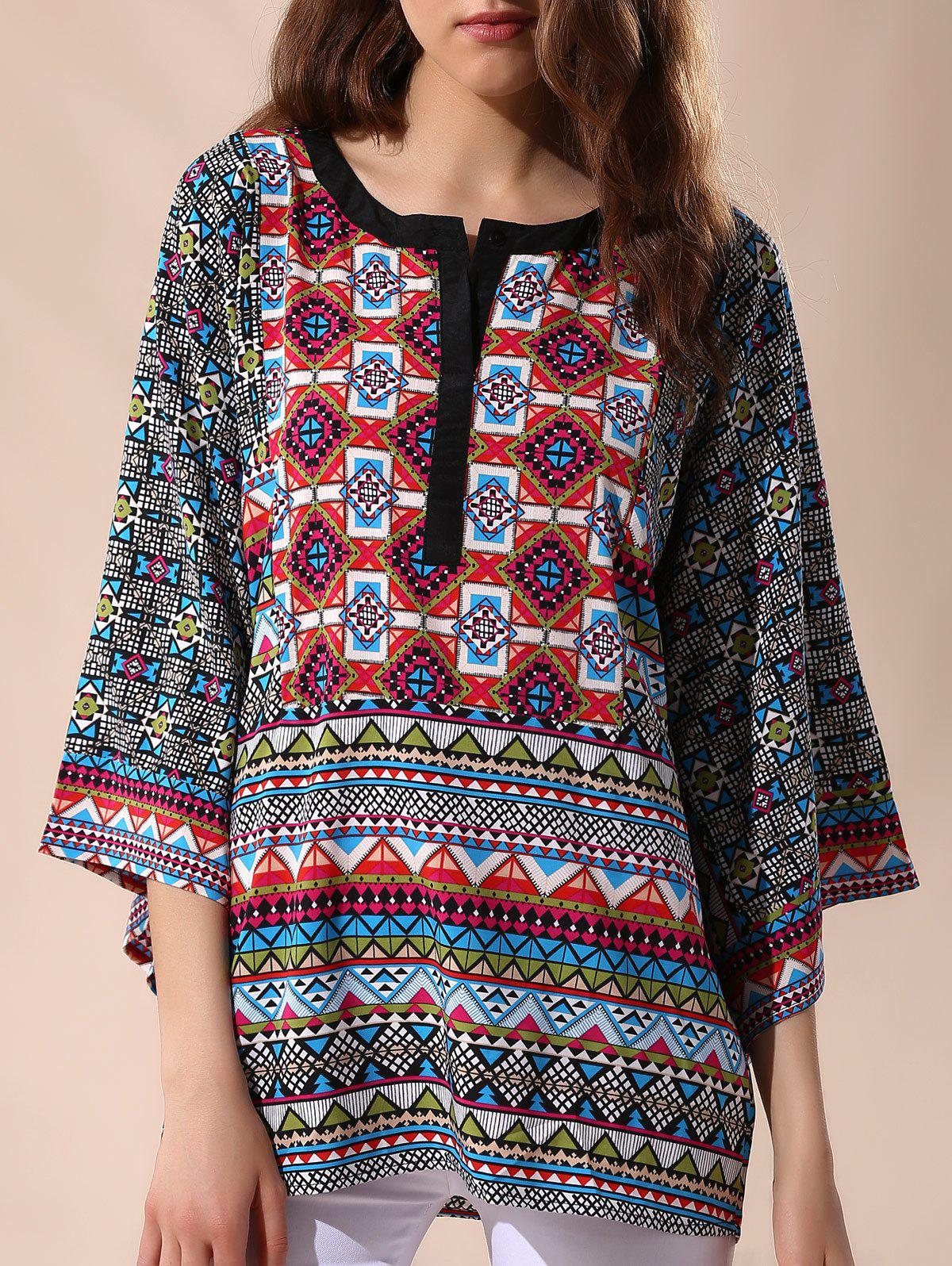 Casual 3/4 Sleeve Round Neck Tribal Print Women's Blouse - L COLORMIX
