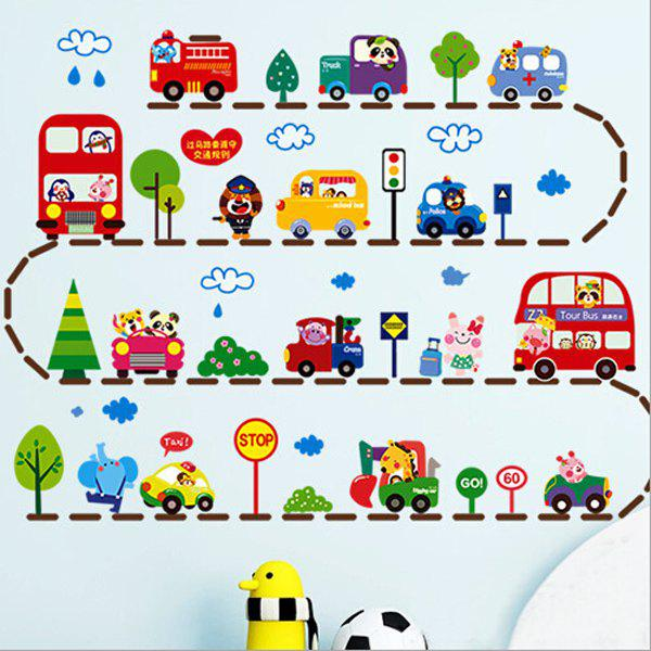 Fashionable Staff Toys Cartoon Animal Car Wall Stickers For Children's Room