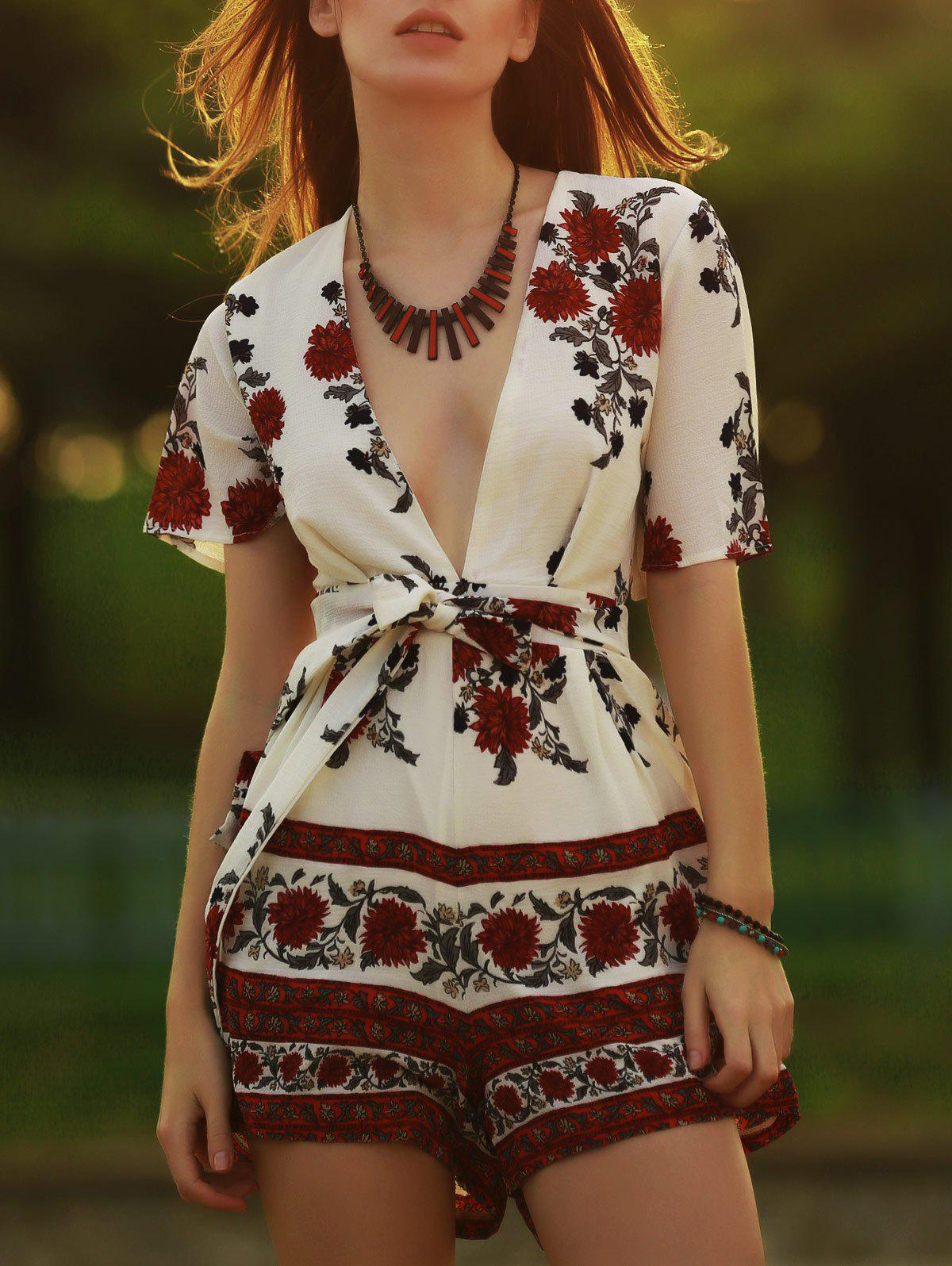 Trendy Women's Plunging Neckline Short Sleeve Floral Print Romper - RED S