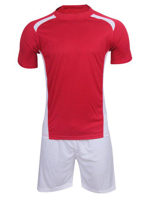 Men's Casual Round Neck Color Block Short Sleeve Sport Suit ( T-Shirt + Shorts ) - RED XL