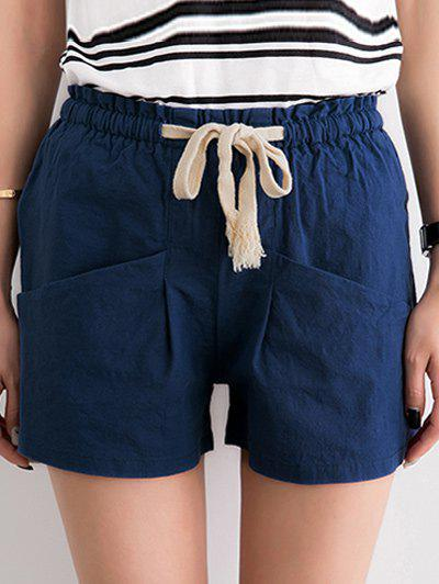 Stylish Pure Color Pocket Deign Drawstring Shorts For Women